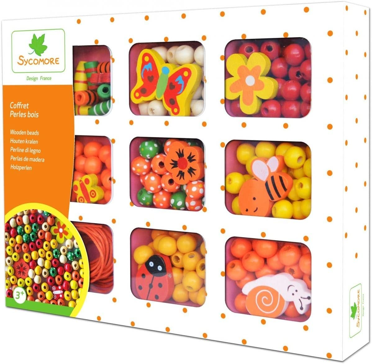 Multicolors Sycomore CRE33131/_xx Crafts for Children-Wooden Beads for Necklaces and Bracelets-Orange Case-from Age 3 years-Sycomore-CRE33131