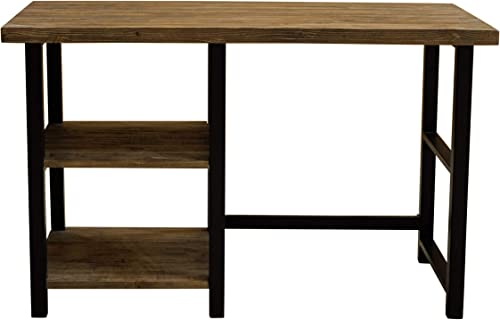 Alaterre Furniture Sonoma 48″ Wide Metal and Solid Wood 2 Shelves Desk