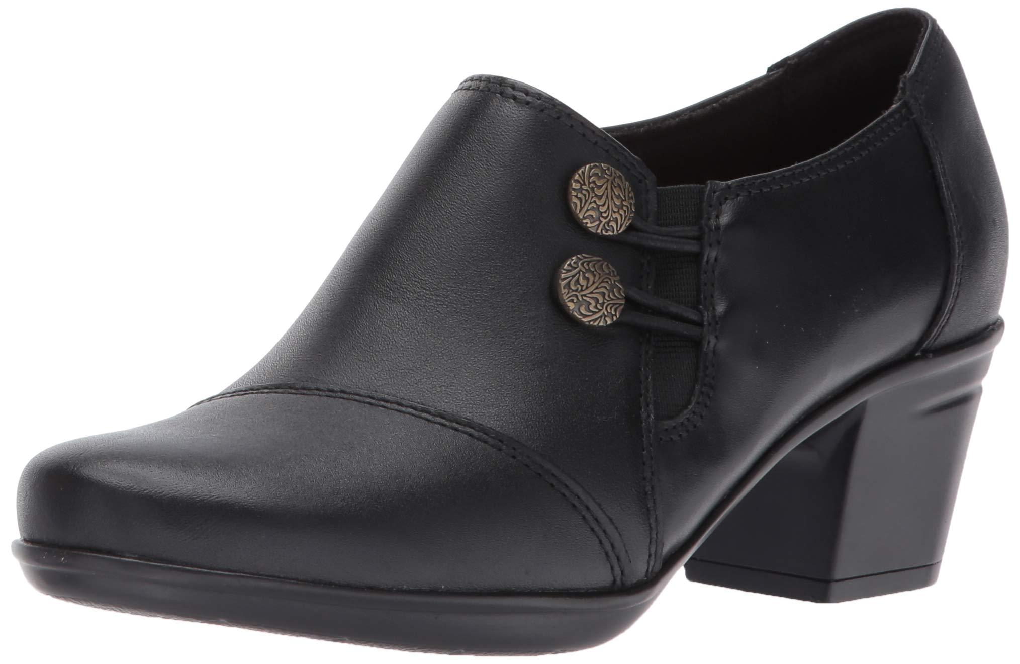 Clarks Women's Emslie Warren Slip-on Loafer,Black Leather,8 M US by CLARKS