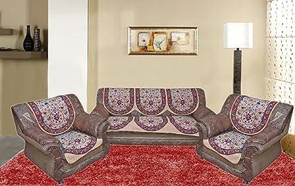 Sofa Cover Set  Cream 6 Piece Cotton 5 Seater