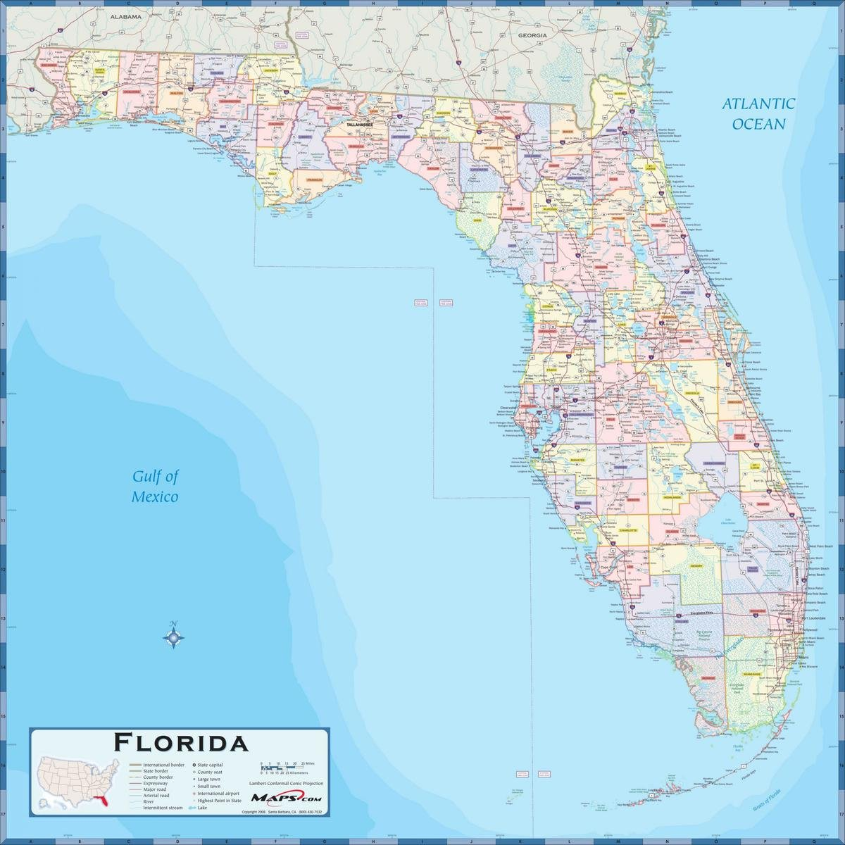 Florida County Map With Roads.Amazon Com Gifts Delight Laminated 24x24 Poster Physical Map