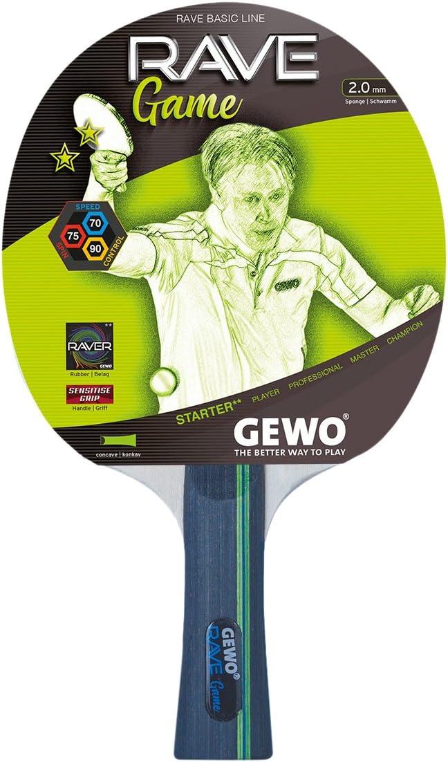 GEWO Rave Game Cóncavo Raqueta de Tenis de Mesa, Negro, One Size