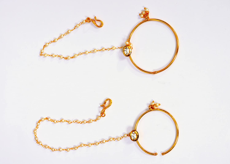 Buy Wedding Wear Nose Ring Rajputana India Golden Plated Pearl