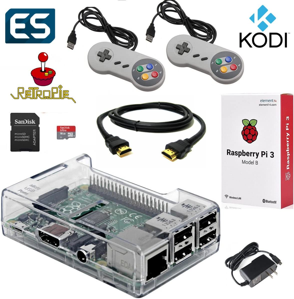 Amazon com: Raspberry Pi 3 Model B Gaming & Media System Pre-Loaded