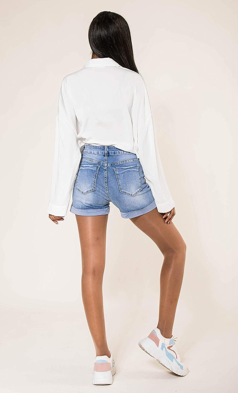 Crazy Age Damen Jeansshorts Basic in Aged-Waschung 5 Pocket Denim Classic Jeans Bermuda-Shorts Kurze Hosen aus Denim f/ür den Damen Denim Kurze Hose mit Hotpants Shorts