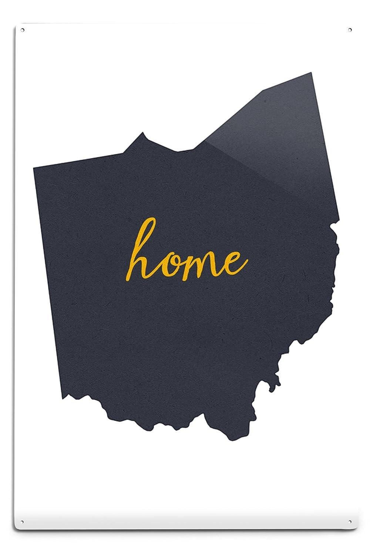 オハイオ州 – ホーム状態 – グレーonホワイト 12 x 18 Metal Sign LANT-55607-12x18M B06Y1JBHBX  12 x 18 Metal Sign