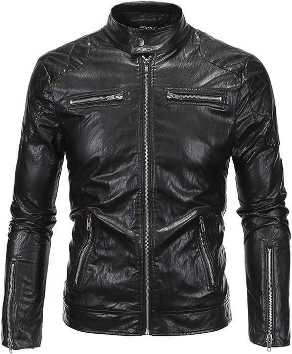 8f04f984c Biker Jacket Leather, Mens Causal Slim Pu Leather Biker Zipper ...