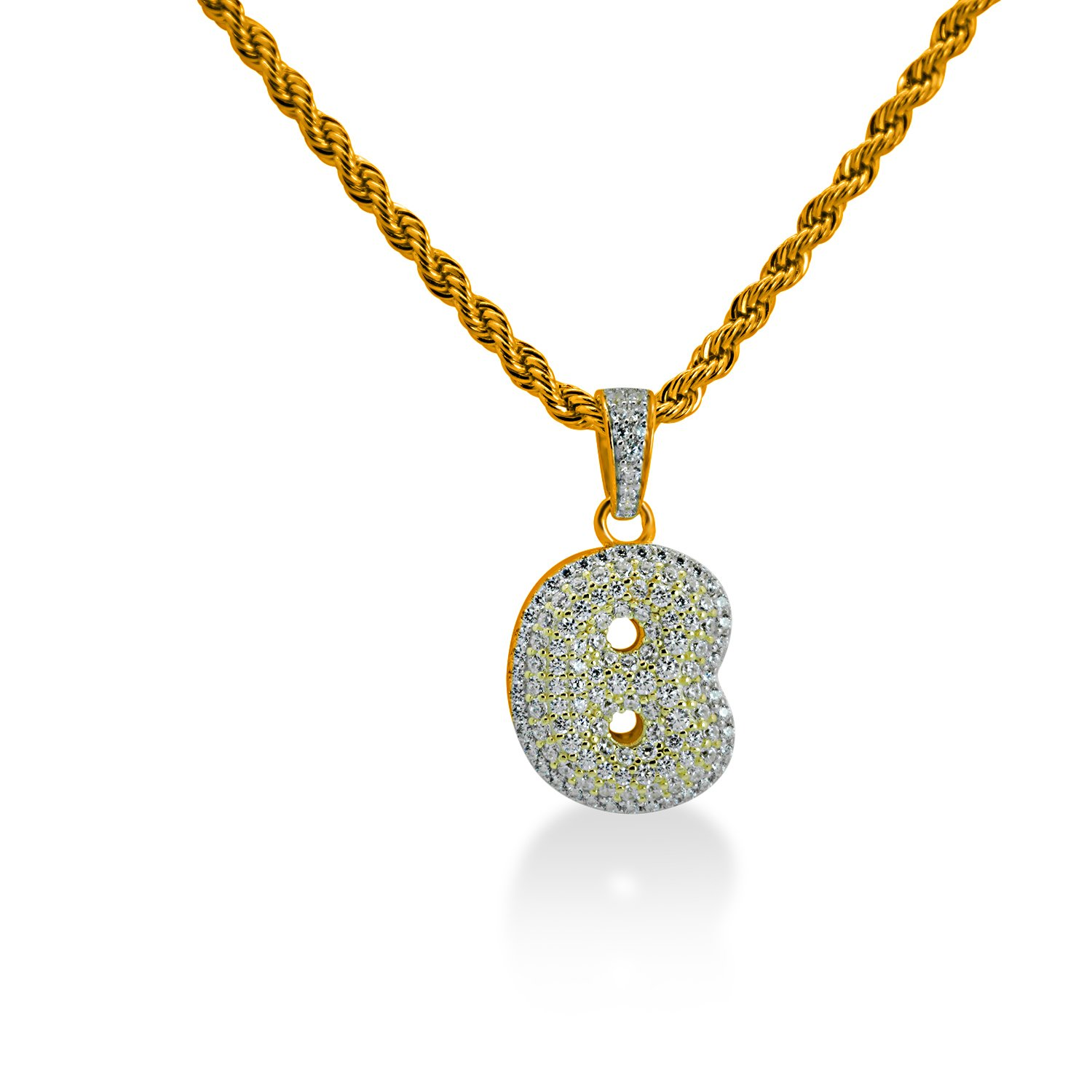 925 Sterling Silver Yellow Gold-Tone Iced Out Hip Hop Bling Bubble Alphabet Letter B Pendant with 24 Rope Chain