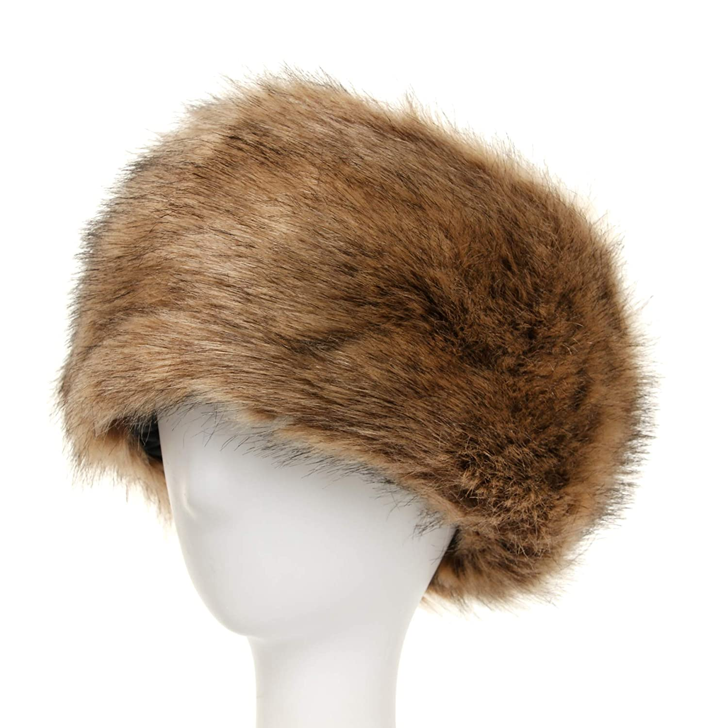 La Carrie Women's Faux Fur Hat for Winter with Stretch Cossack Russion Style White Warm Cap LCFH001-P-4