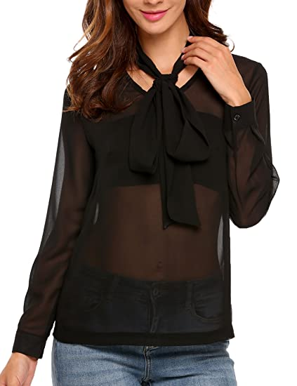 4c93743a4d49 Zeagoo Sheer Chiffon Top Long Sleeve V Neck Blouse Work Office Tshirt For  Teens Black XL
