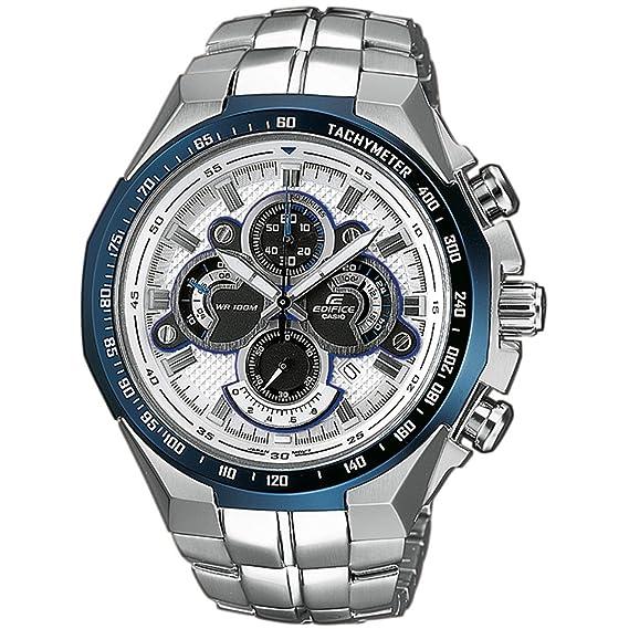 CASIO EF-554D-7AVEF Edifice - Reloj de Caballero de Cuarzo, Correa de Acero Inoxidable Color Plata: Amazon.es: Relojes