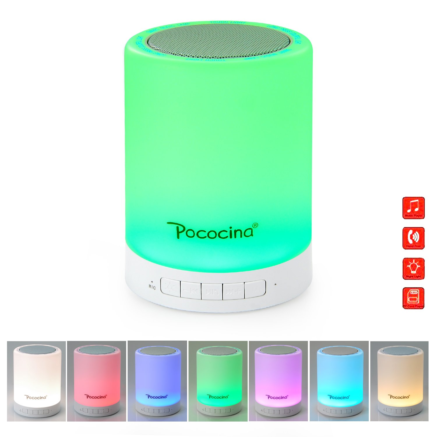 Bluetooth Speaker Night Light Dimmable Table Lamp Smart Touch Control LED Color Changing Mood Light for Bedroom Sleeping, Perfect Gift for Baby Kids Children Teens Adult