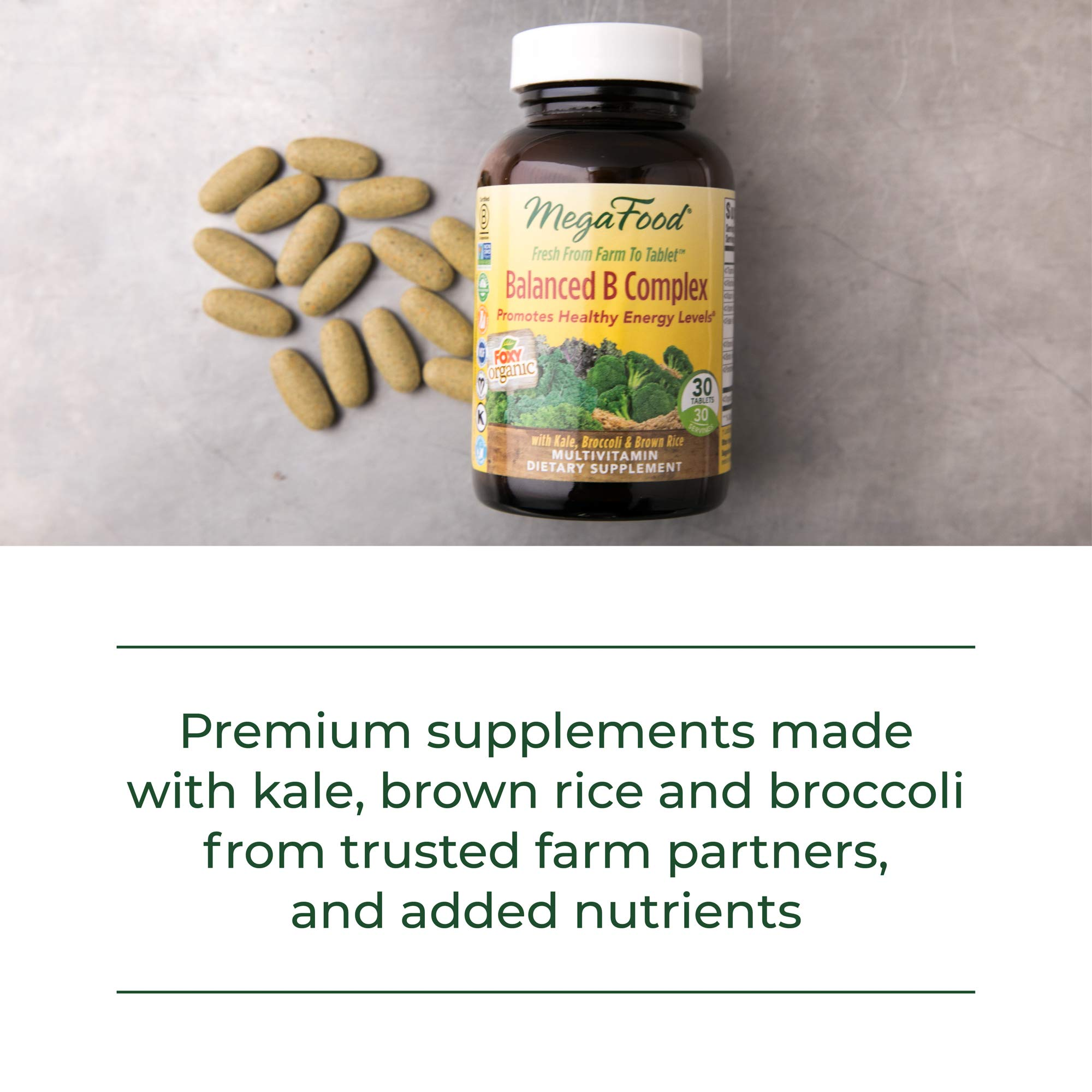 MegaFood, Balanced B Complex, Promotes Healthy Energy Levels, Multivitamin Dietary Supplement, Gluten Free, Vegan, 90 Tablets (90 Servings) (FFP) by MegaFood (Image #8)