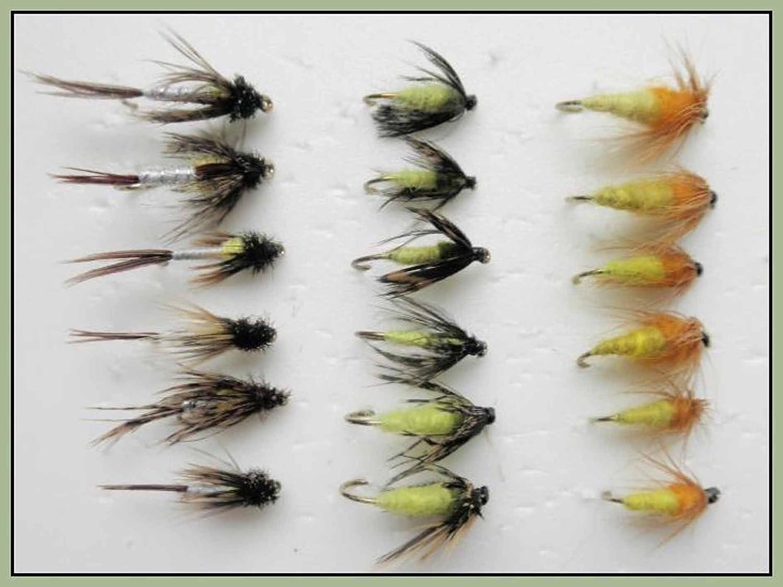 Mixtes 10//à 14 Ambre et Faire /éclore Sedge Troutflies UK Nymph Flies Nymphe Truite Mouches 18/Lot Caddis