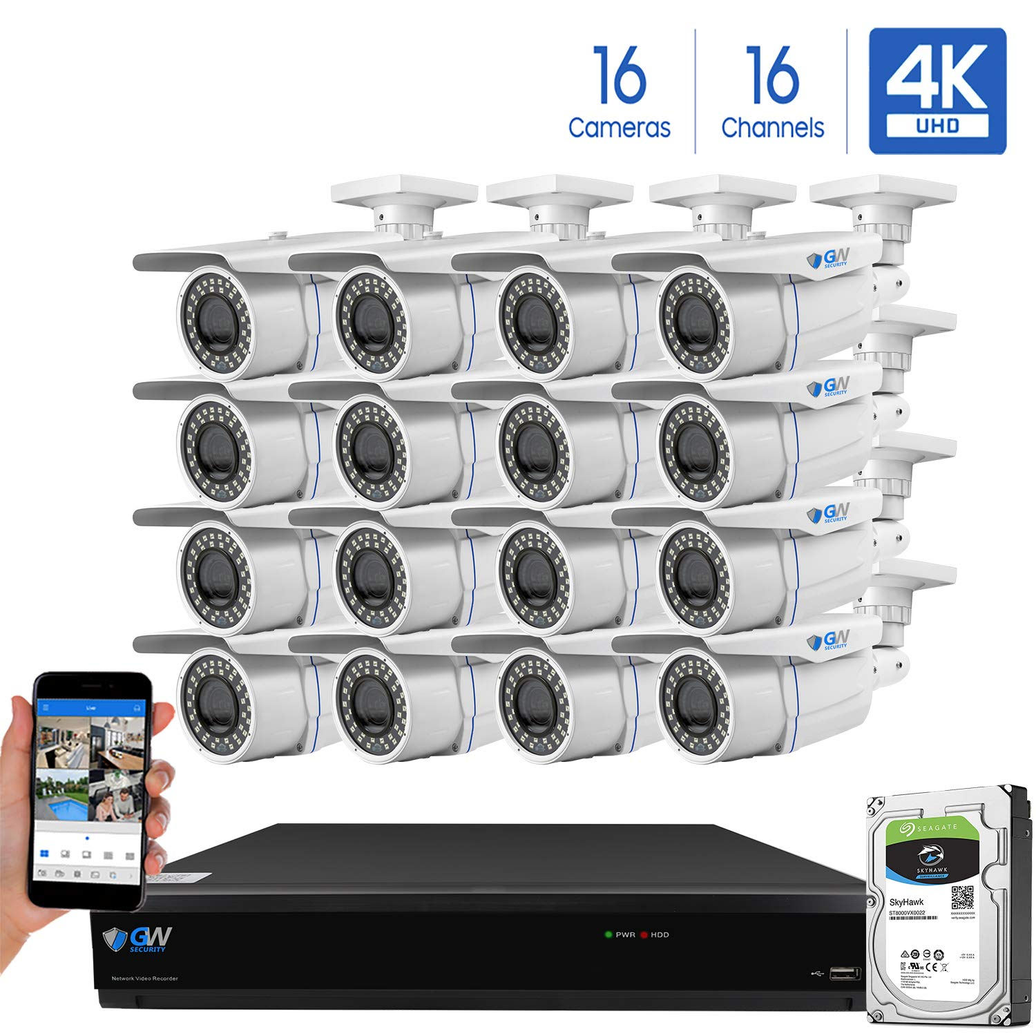 GW 16-Channel 4K H.265 Complete CCTV Security System with 16 x HD 8MP 2160P Outdoor Indoor 2.8-12mm Varifocal Zoom 4K Bullet Security Cameras and 4TB HDD, QR Code Scan Free Remote View