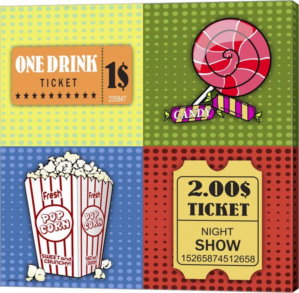 Popcorn Pop Art III by Jean Plout Canvas Art Wall Picture, Gallery Wrap, 37 x 37 inches