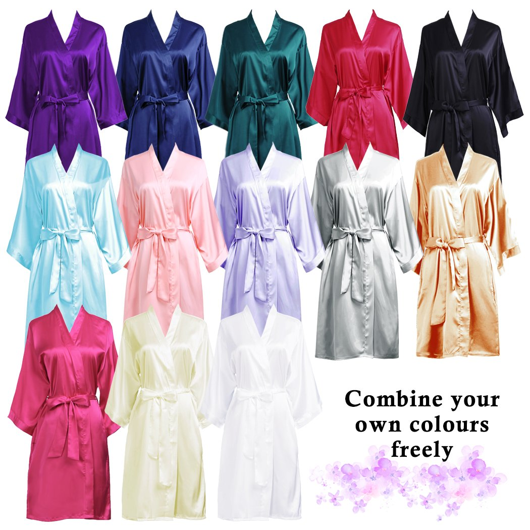 PROGULOVER Set Of Bridesmaid Robes Buy 8 Get 1 Free Rhinestone With Crystals Bridesmaid Gift Personalized Bridesmaid Satin Bride Robes Shower by PROGULOVER (Image #4)