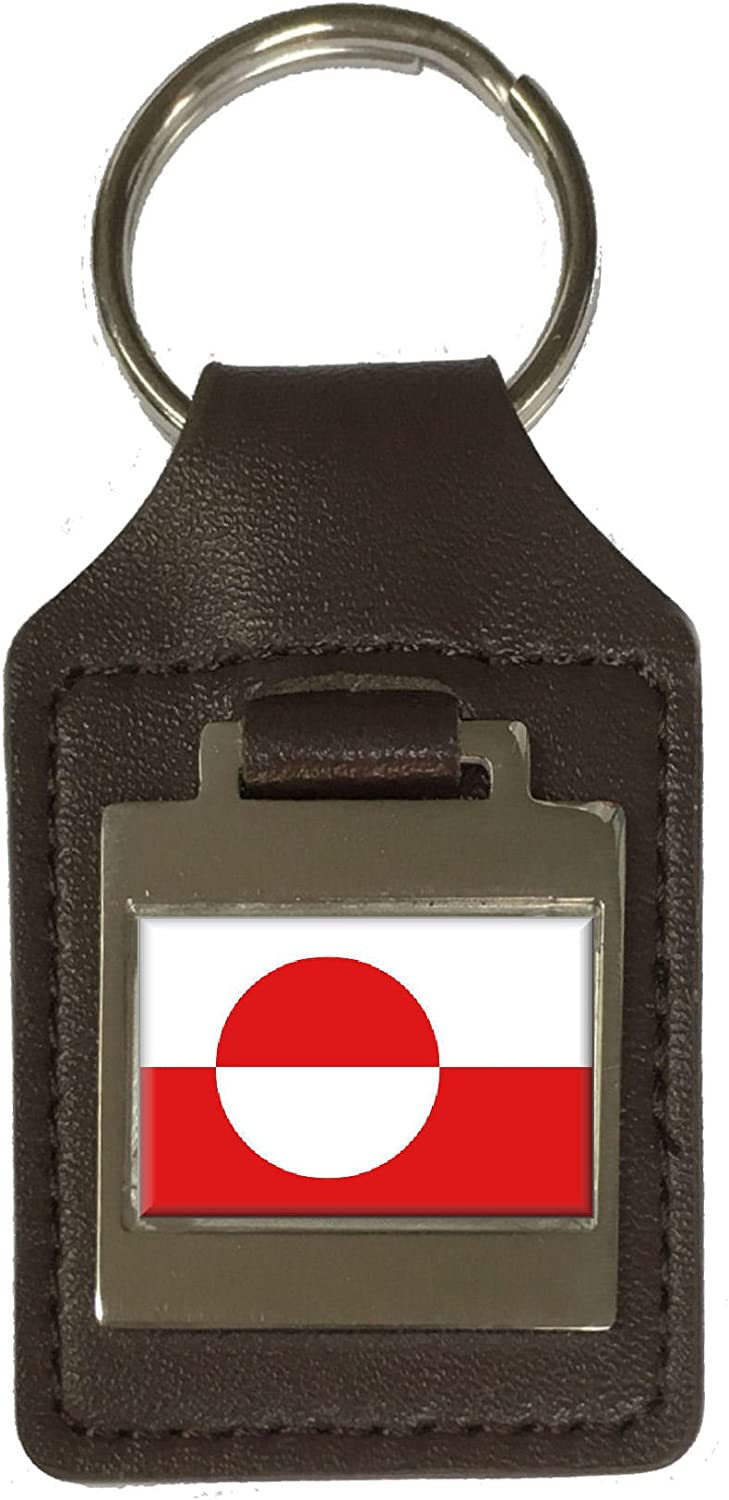 Leather Keyring Engraved Greenland Flag