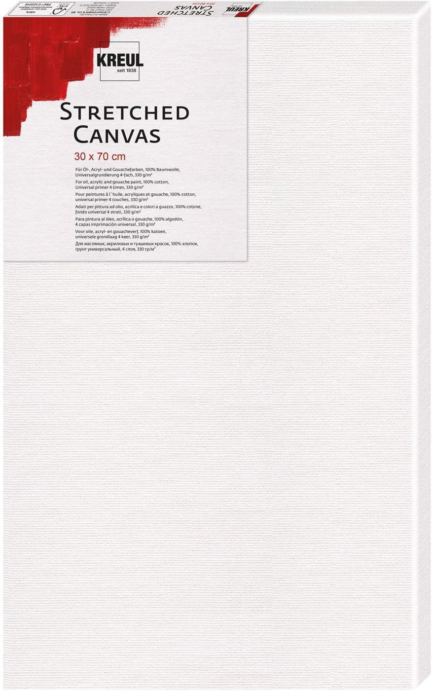 30 x 70 cm ca wei/ß Kreul 593070 Stretched Canvas Leinwand aus Baumwolle 4 fach grundiert Keilrahmen in Einsteigerqualit/ät One Size ideal f/ür Acryl-und Gouachefarben