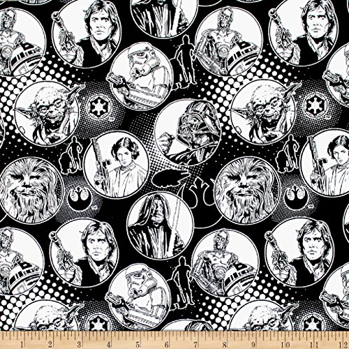 (Camelot Fabrics Star Wars Circle Flannel Black Fabric by the Yard)