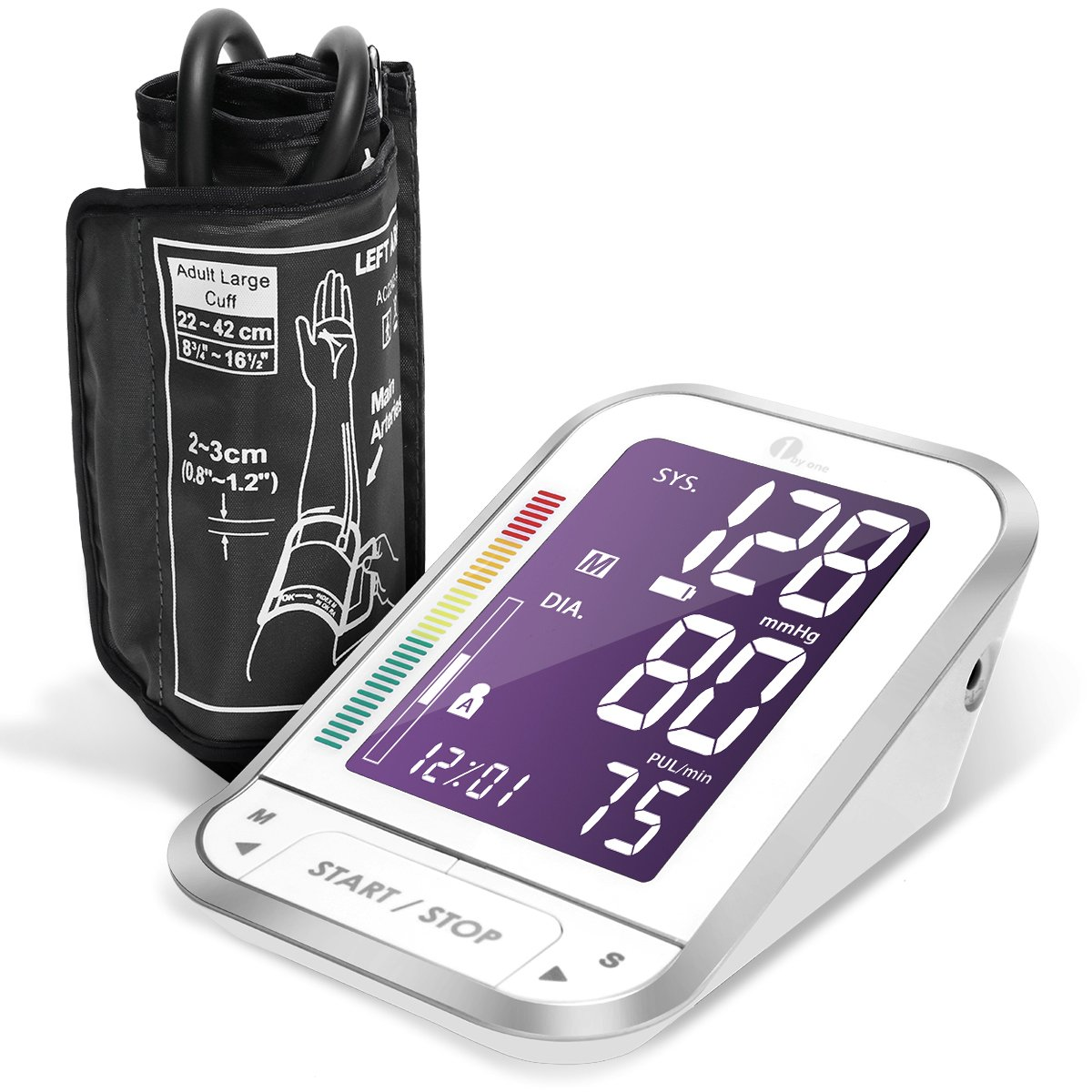 1byone Upper Arm Digital Blood Pressure Monitor Blood Pressure Cuff with Easy-to-Read Backlit LCD, Blood Pressure Machine One Size Fits All Cuff, Sphygmomanometer Nylon Storage Case, White