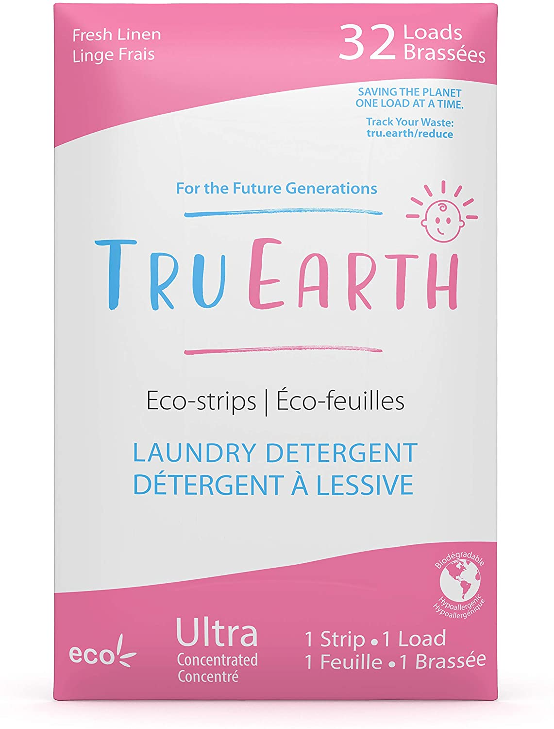 Tru Earth Eco-Strips Baby Laundry Detergent (32 Loads) - Eco-friendly Ultra Concentrated Hypoallergenic Compostable & Biodegradable Plastic-Free Laundry Detergent Sheets for Sensitive Skin