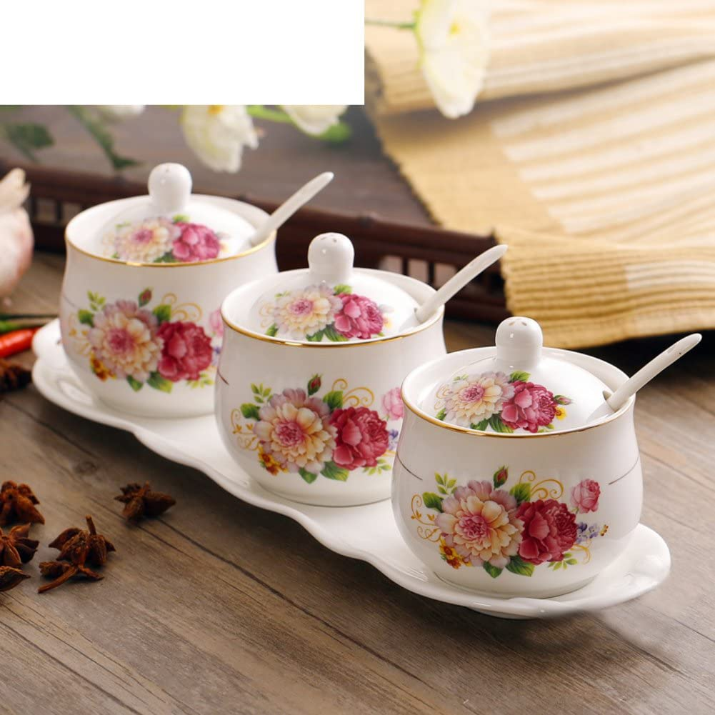Amazon Com Kitchen Spice Box Ceramic Spice Jar Three Piece Cruet Set European Ideas Of Salt Tank K Kitchen Dining
