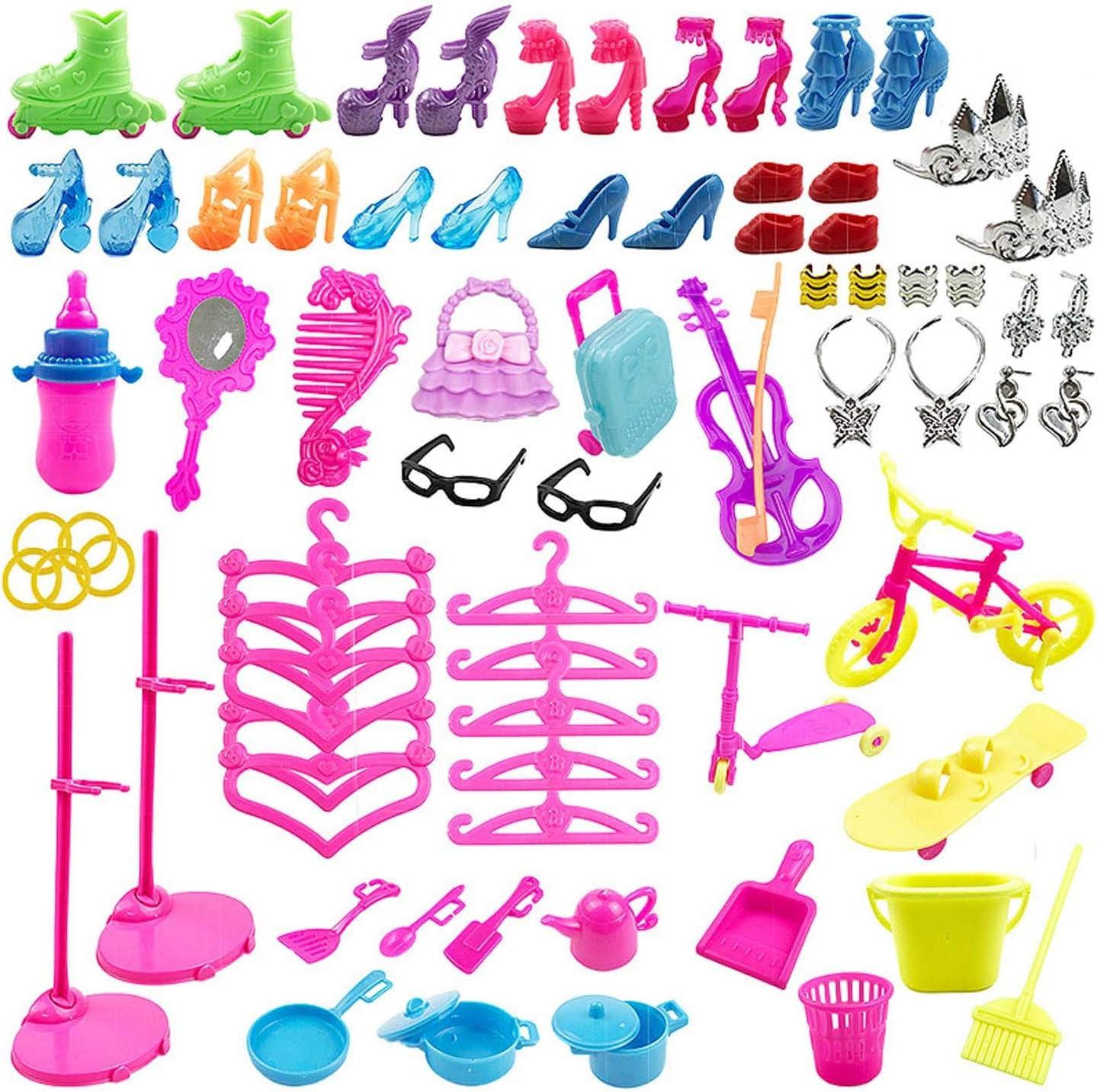 Beetest Vestiti Barbie 88pcs Accessori Bambola Kit Tacchi Alti Vestito Abiti Strumenti di Pulizia della Cucina per Barbie Giocattoli