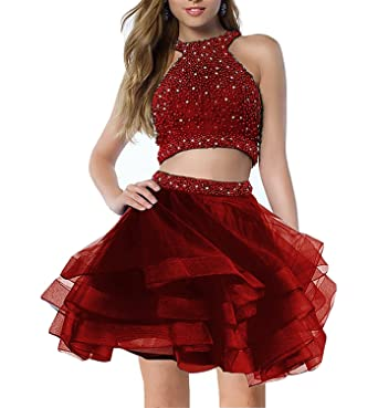 Little Star Tulle Homecoming Party Dresses for Juniors Short Two Piece Prom Dreses Maroon