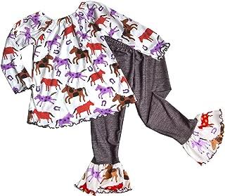 product image for Cheeky Banana Little Girls Horse Print Tunic Top & Denim Ruffle Leggings - Multi