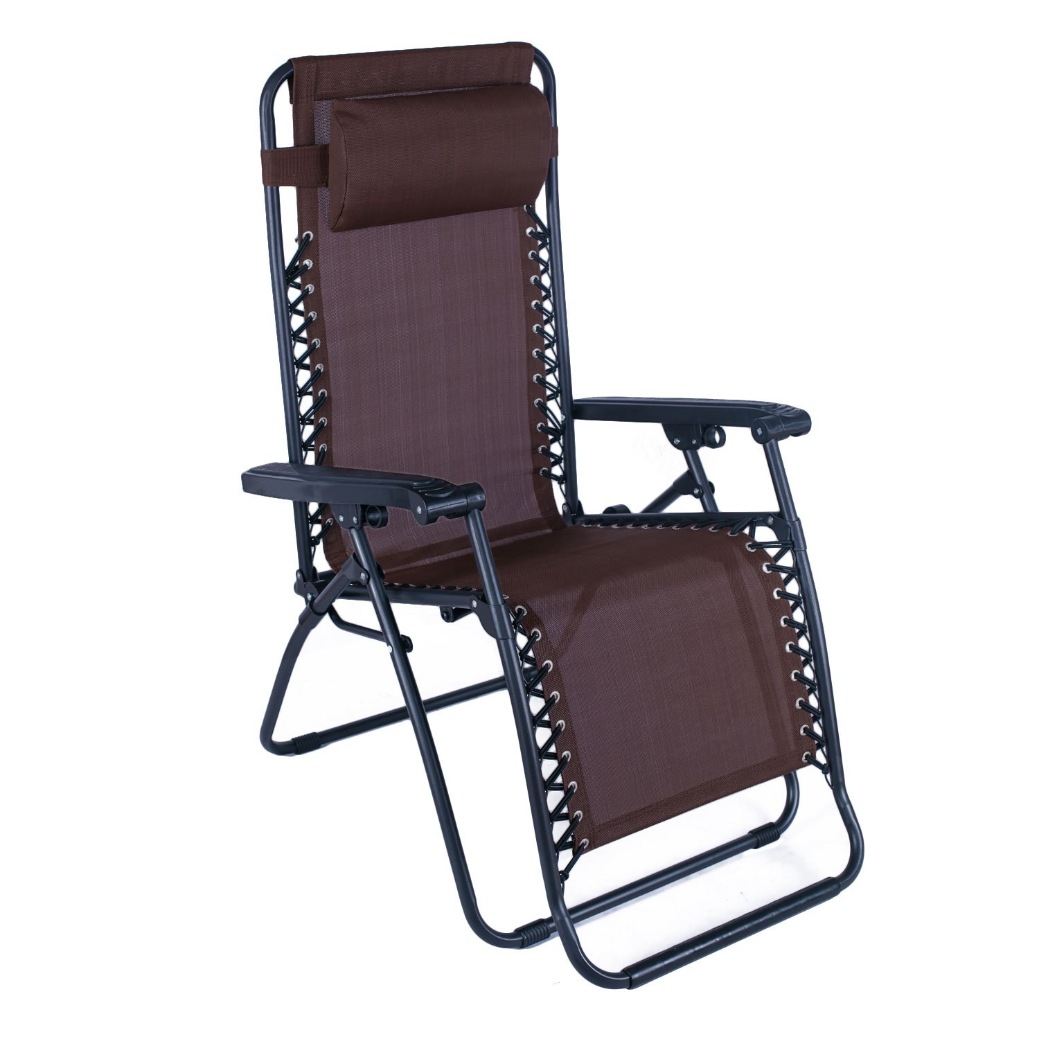 Asense Coffee Outdoor Folding and Reclining Chair with Adjustable Headrest, for Yard Beach.