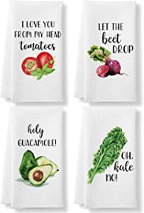 KLL Funny Kitchen Tea Towels Foodie Housewarming Gift- Set of 4 Dish Waffle Vegetables Towels Gift for Wedding Shower Fun Hostess Kitchen Decor Christmas New Home