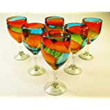 Wine Glasses, Hand Blown, Rainbow colors 15 Oz (Set of 6)