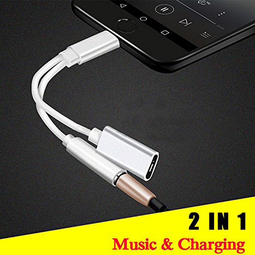Amazon.com: Lightning Jack Adaptor Earphone for iPhone X 8/8Plus iPhone  7/7Plus Converter.2 in 1 Charging Lightning to 3.5mm Headphone Adapter  Accessories ...