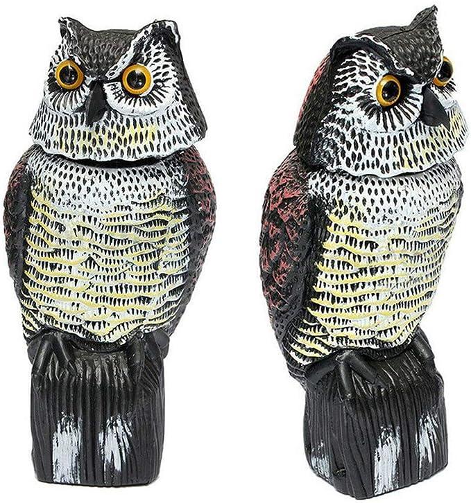 Habe Sounds Duokon Realistischer drehender Kopf-Eulen-Lockvogel-Schutz-absto/ßender Vogel-Sch/ädlings-Scarer-Kontrollvogelscheuche f/ür Garten-Yard