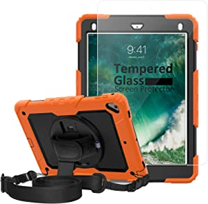 iPad 6th Generation Cases, iPad 9.7 Case For Kids, [Shockproof] Ambison Full Body Protective Case with Pencil Holder, Tempered Glass Screen Protector, Rotatable Kickstand & Hand Strap (Orange & Black)