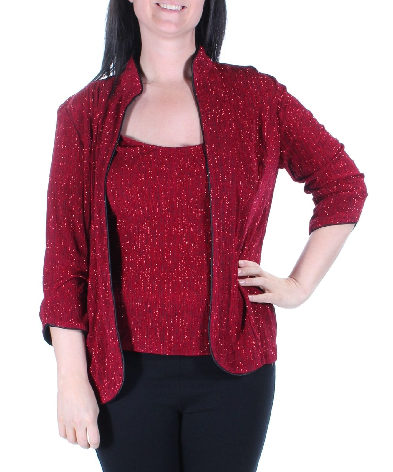 Alex Evenings Red Glitter Women's Medium Petite MP Twinset Evening Top