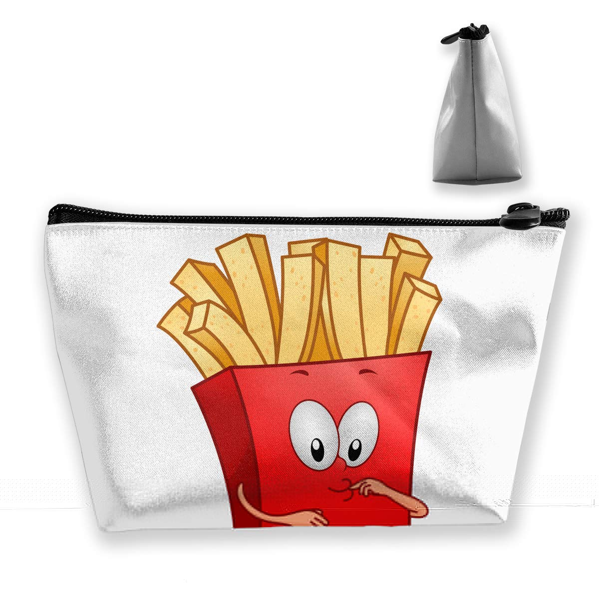 Trapezoid Toiletry Pouch Portable Travel Bag Fries Cartoon Zipper Wallet