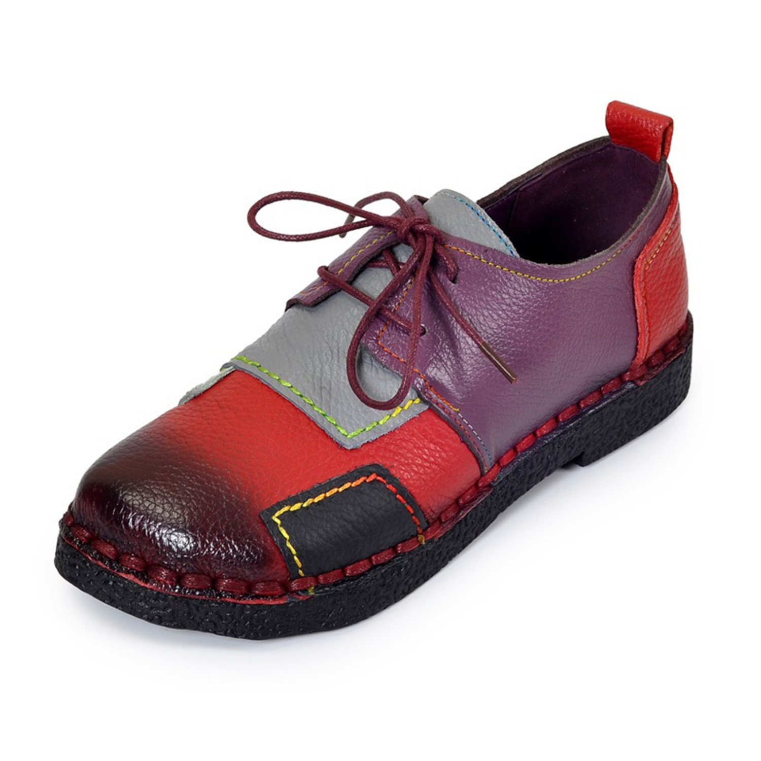 Surprising Day Womens Handmade Shoes Genuine Leather Flat Lacing Mother Shoes Woman Loafers Soft Single Casual Shoes Women Flats