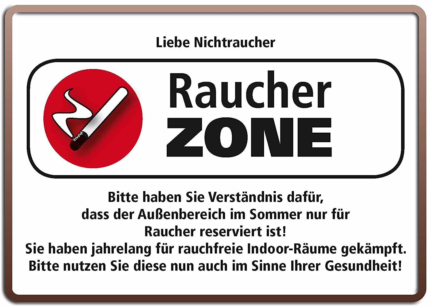 "Enthralling Raucherzone Photo Of Concept.de: Blechschild 10x15 Cm ""raucher Zone -"