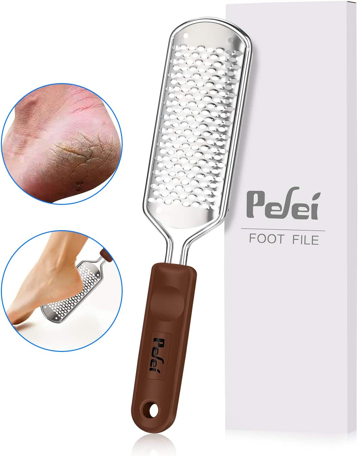Foot File Callus Remover, Pefei Colossal Professional Stainless Steel Detachable Foot Scrubber, Hard Skin Removers Pedicure Rasp for Wet and Dry Feet