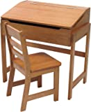 Lipper International 564P Child's Slanted Top Desk and Chair, Pecan