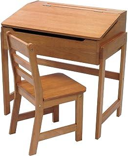 lipper 564p childu0027s slanted top desk u0026 chair pecan finish