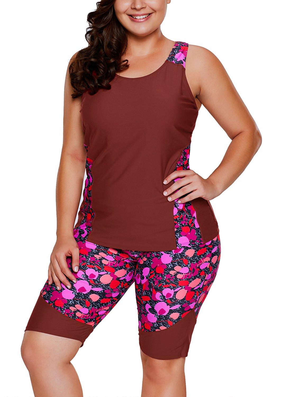 ZKESS Women Red Color Blocked Swim Leggings Capri Pants Tankini Tops 2PC Swimsuit Surfing Swimwear Plus Size XL