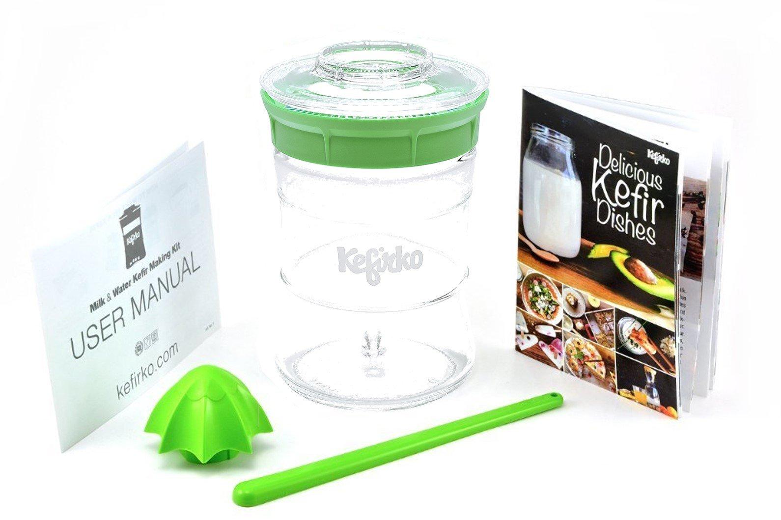 KEFIRKO - Kefir Fermenter Kit - Easily Brew your own Milk Kefir and Water Kefir - Green