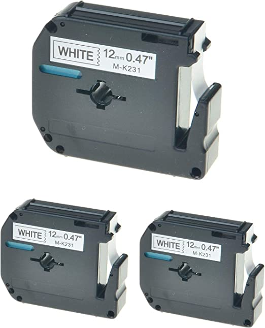 10 PK Label Tape Fit for Brother P-touch M-K231 MK231 PT65 PT85  Black on White