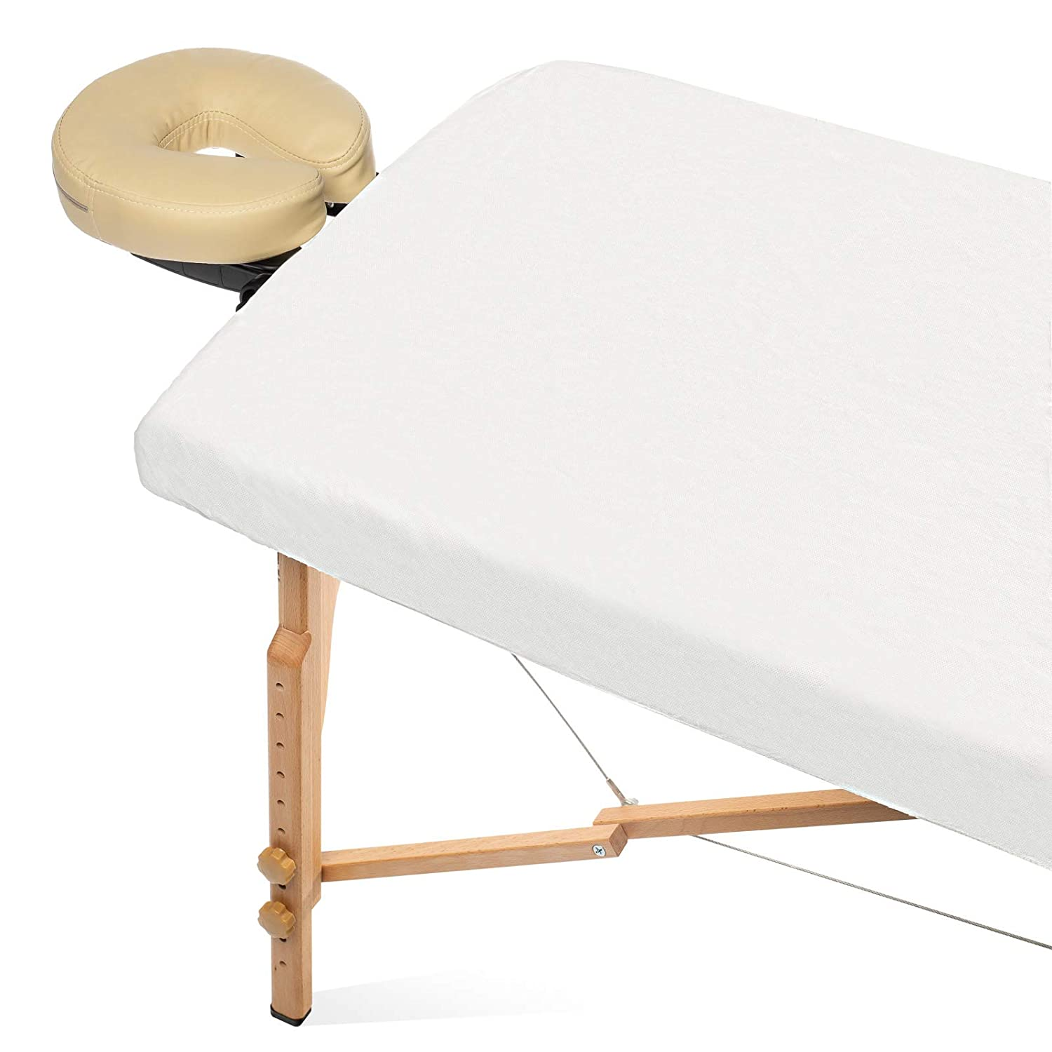 Saloniture 10 Disposable Fitted Massage Table Covers - Single Use Facial Bed Salon Spa Sheets
