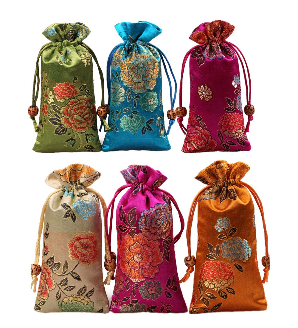 """Startdy Silk brocade Double layer Drawstring Pouch Candy Sachet wallet Jewelry bag W3""""H6"""" (6pcs )"""