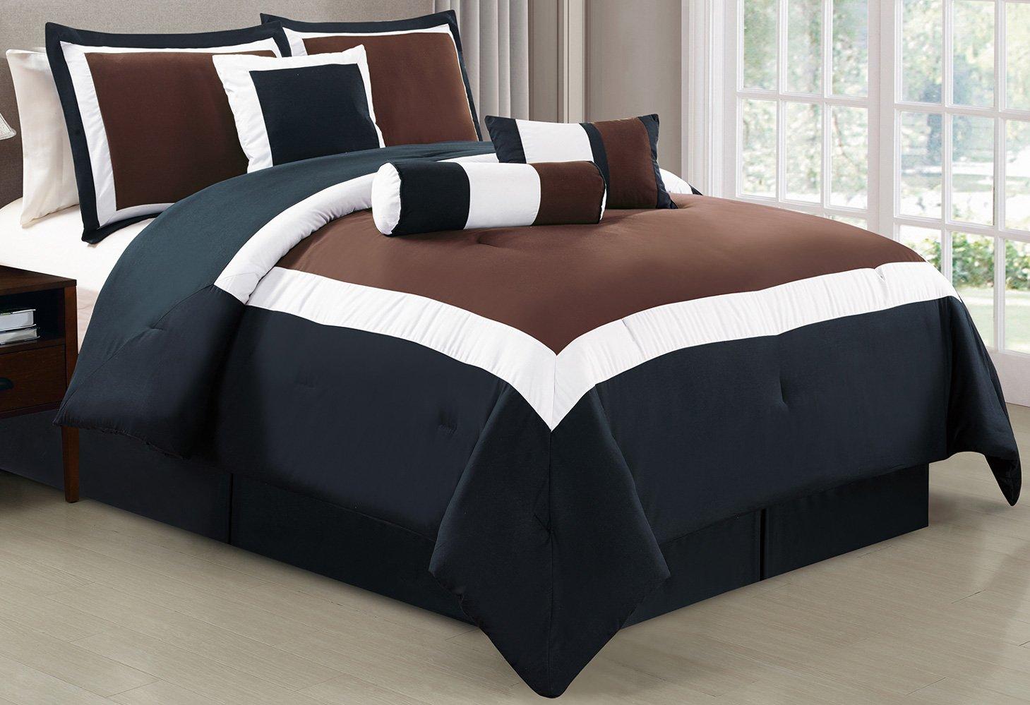 Grand Linen 7 Piece Oversize BROWN/BLACK/WHITE Color Block Comforter set 90'' X 88'' Full Size Bedding
