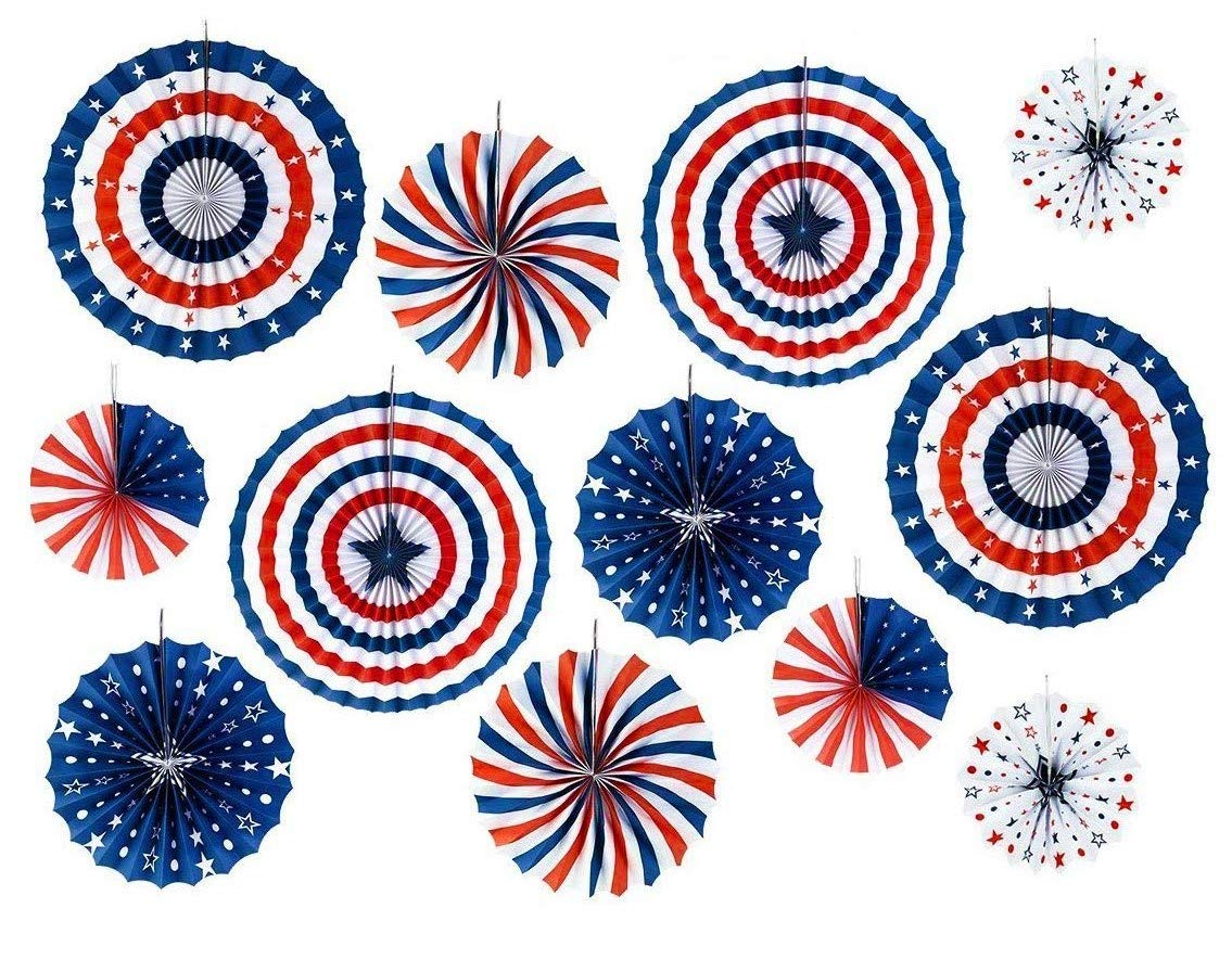 Hanging Paper Fans 12 Pack - Red White Blue Rosettes Paper Fans, Summer Fiesta, Kids Birthday Party, Fourth/4th July Patriotic Decorations, Independence Day, Party Supplies, Fan Lanterns, America